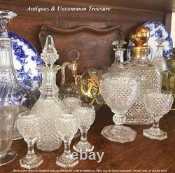 Superb Antique French Baccarat c. 1830 Diamond Cut Decanter and Full Size Goblet