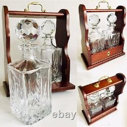 Superb Quality English 24% Lead Crystal Double Decanter Tantalus (13/33cm, 5kg)