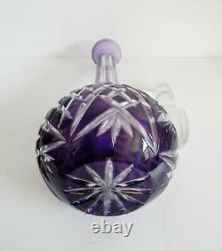 TALL decanter with lilac color cut to clear St louis style cut