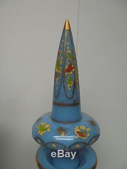 TWO BOHEMIAN TURQUOISE CUT AND ENAMELLED OPALINE/GLASS DECANTERS AND STOPPERS