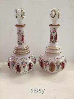 TWO HUGE BOHEMIAN CZECH MOSER Cased Glass Decanters Hd Ptd Cut to Cranberry