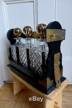 Tantalus 3x Hand Cut Glass Original Decanters Gold Effect Bottles Brass Lock Key