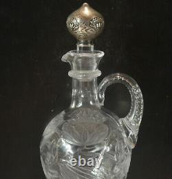Theodore B Starr Sterling Silver Stopper And Cut Glass Decanter Or Jug