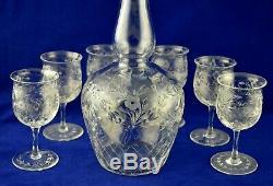 Thomas Webb Crystal Intaglio Cut Round Spirit Decanter & 6 Sherry / Port Glasses
