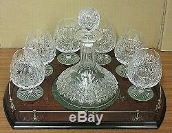 Thomas Webb Crystal Wellington Cut Decanter Set 6 Brandy Glasses Wooden Base