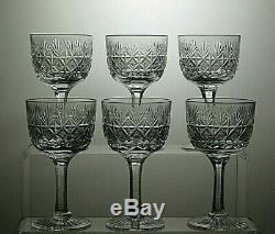 Thomas Webb Crystal Wellington Cut Decanter Set 6 Sherry Glasses Wooden Base