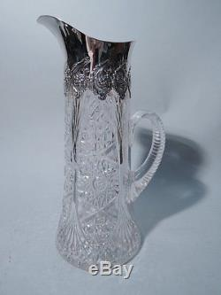 Tiffany Claret Jug Decanter American Brilliant Cut Glass & Sterling Silver