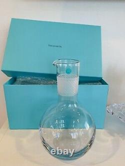 Tiffany & Co. New, Pristine, In Box, Cut Crystal Diamond Point Round Decanter