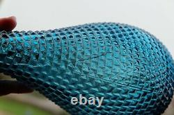 Turquoise Hobnail Diamond Cut Genie Bottle Decanter 1960s Glass Empoli MCM