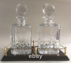 Twin Decanter Gallery Tray With Two Cut Lead Crystal Decanters