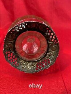 UNIQUE 800 Silver Fine Overlay Cut Glass Decanter & stopper Decagon shape 842