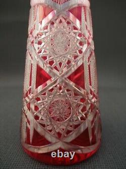 VAL SAINT LAMBERT Belgian antique Decanter Cut Crystal 16.14 tall