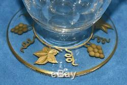 VAL ST LAMBERT Pampre D'Or Gold Grape Leaves Art Glass Port Wine Decanter Bottle