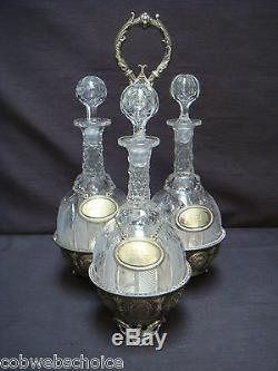 Victorian Three Crystal Cut Glass Decanter Set In Silver Plate Stand Quality