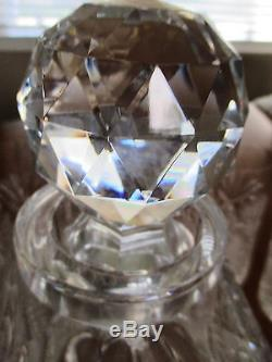 Vintage Heavy Cut Crystal Elegant Decanter Stopper And 6 Highball Glasses Set