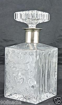 Vintage Silver Plated Neck Clear Frosted Glass Bacchus Mask Spirit Decanter