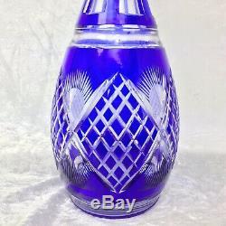 VIntage Crystal Decanter Bohemian Cobalt Blue Cut To Clear Czech Art Glass 14