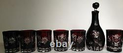 VTG BOHEMIAN Ruby Red Cut-to-Clear Crystal Starburst Decanter Glasses Set MINT