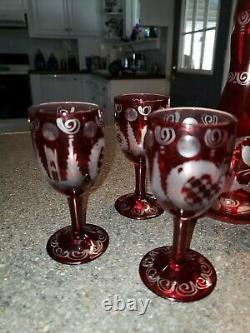 VTG. Egermann Bohemian Czech Ruby Cut to Clear Deer Decanter Set with 6 Glasses