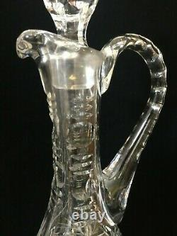 VTG Tall Victorian Clear Cut Crystal Glass Decanter withHandle, 16 1/2 T x 5 W