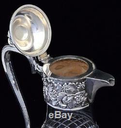 V. NICE LARGE SILVER PLATE & CUT GLASS GRAPE & LEAF WINE EWER CLARET PITCHER JUG