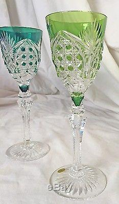 Val St Lambert Acadamie Du Vin cut to clear crystal set 6 Glasses and Decanter