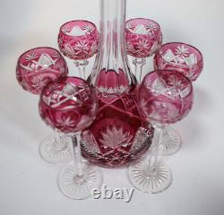 Val St Lambert Berncastel Decanter Set with 6 Cordials Cranberry Cut to Clear
