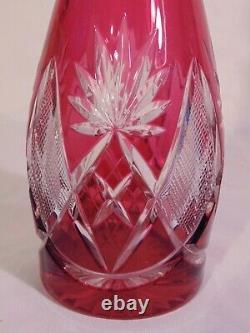 Val St Lambert Berncastel Wine Decanter Bottle Cranberry Cut to Clear