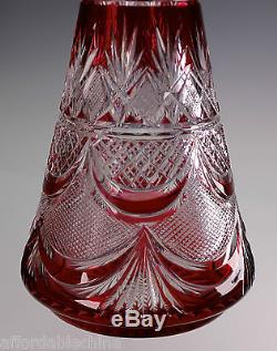 Val St. Lambert Cranberry Ruby Red Cut to Clear Crystal Glass Decanter -Gorgeous