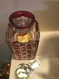 Val st lambert Canberry / Ruby Cut To Clear Crystal Decanter
