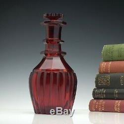 Very Rare Victorian Ruby Red Cut Glass Decanter c1850