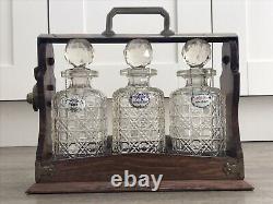 Victorian Antique 3 Cut Glass Decanter Oak Tantalus Circa 1890