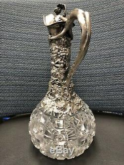 Victorian Sterling Silver and Cut Glass Claret Jugs / Wine Ewer Decanter