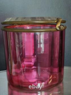 Vintage 1900's Pink Cut Crystal Glass Box, Vanity Box Dresser Jar