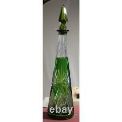 Vintage 20th Czechoslovakia original Round green cut crystal Bohemian decanter