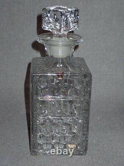 Vintage 750ml Fostoria Glass Decanter Rye Rare Cut Engraved Ornate Label