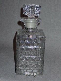 Vintage 750ml Fostoria Glass Decanter Scotch Rare Cut Engraved Ornate Label