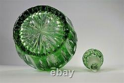 Vintage Antique Cut to Clear Green Decanter Crystal Glass Coin Dot Cut Star Base