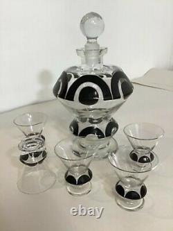 Vintage Art Deco Austrian Modernist Cut Glass Liquor Decanter / Carafe Set 1920s