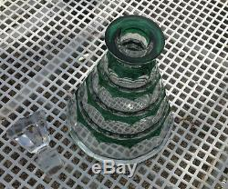 Vintage Art Deco Val St Lambert Emerald Cut Glass Decanter 1930s