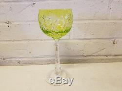 Vintage Bohemian Cut Crystal Multicolored Set of 6 Wine Glasses