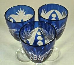 Vintage Bohemian Czech Crystal Cobalt Blue Cut to Clear Decanter 3 GLASSES ONLY
