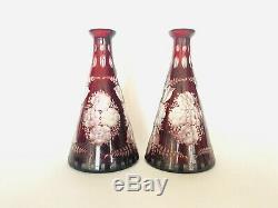 Vintage Bohemian Czech Cut Crystal Glass Red Flower Vase / Decanter Egermann