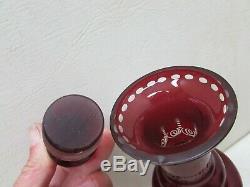 Vintage Bohemian Czech Ruby Cut to Clear Decanter Cordial Glasses Liquor Bar