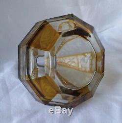 Vintage Bohemian Glass Decanter. Yellow Cut-to-Clear. C. 1940's. 9 Tall