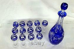 Vintage Bohemian Hand Cut Crystal Carafe and Glass Set