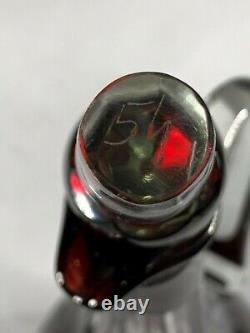 Vintage Bohemian RUBY RED Cut to Clear Signed 11 Decanter Bottle +Stopper a327