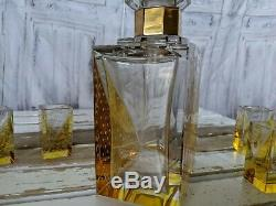 Vintage Bohemian cut glass karel palda yellow amber square decanter shot set f