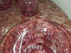 Vintage Camberry Cut-to-Clear Pink Bohemian Decanter and Six Glass Set