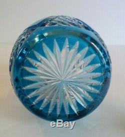 Vintage Cased Glass Cut-to-Clear 5-Piece Liquour Decanter Set